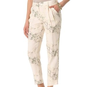 Theory Yogan silk pleated printed trousers